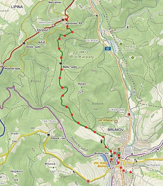 trasa od rekreačního střediska Jelenovská do Brumova