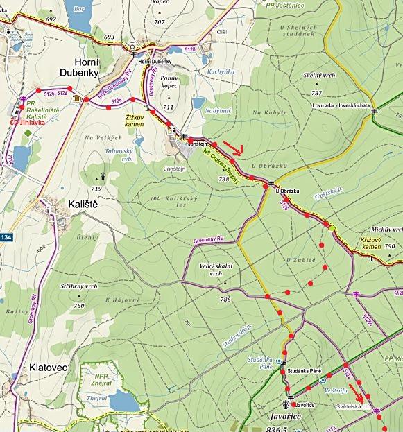 z nádraží ČD v Jihlávce k Obrázku, ke Studánce Páně, na vrchol Javořice - 1. část trasy 18.2.2017