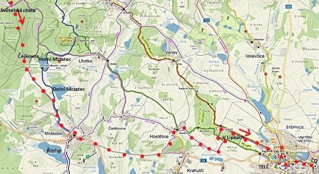 z Javořice kolem Světelské chaty, přes Čejkovnu do Mrákotína, Hostětic, alejí Lipky do Telče - 2. část trasy 18.2.2017