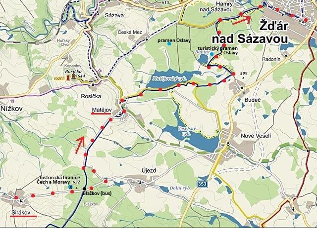 ze Sirákova po MTZ do Matějova, kolem Matějovského rybníka k Babínu a do Žďáru na nádraží ČD 29.4.2017