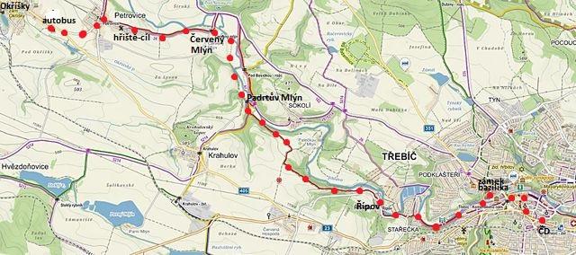 trasa z Třebíče přes Padrtův a Červený mlýn do Petrovic 18.3.2017