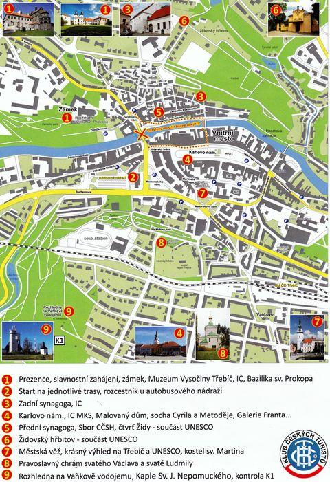 mapka centra Třebíče s vyznačenými možnostmi prohlídek