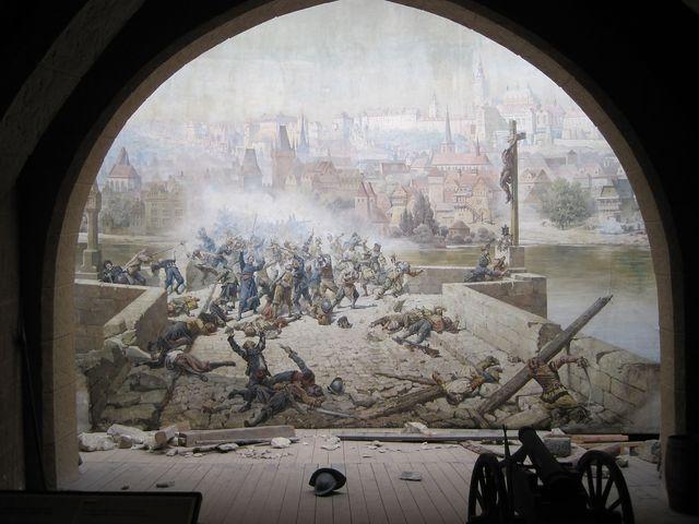 """dioramatický obraz """"Bitva se Švédy na Karlově mostě v roce 1648"""""""
