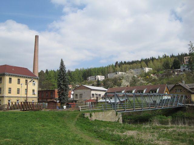 okolí řeky Jihlavy v Malém Beranově u továrny