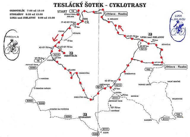 trasa, kterou absolvovali naši cyklisté