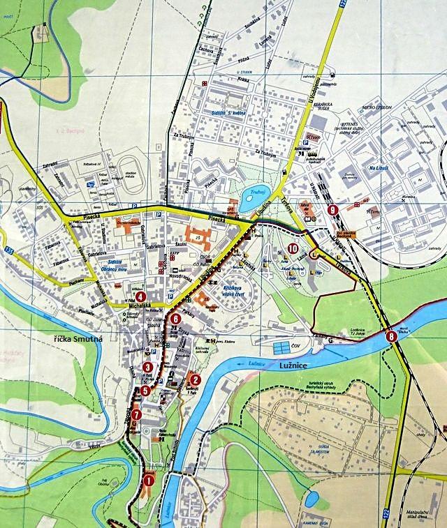 plánek centra města Bechyně