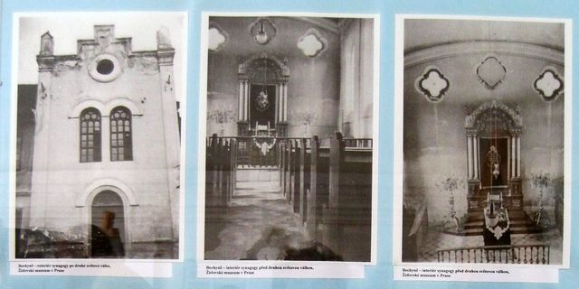 na galerii je expozice o historii židovské komunity na Bechyňsku - obrázky synagogy a jejího někdejšího interiéru