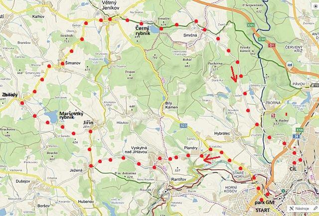 cyklojízda z jihlavského Parku G. Mahlera přes Staré Hory a Plandry, přes Vyskytnou, Ježenou, Jiřín a Zbilidy do Větrného Jeníkova a zpět do Jihlavy 11.6.2017