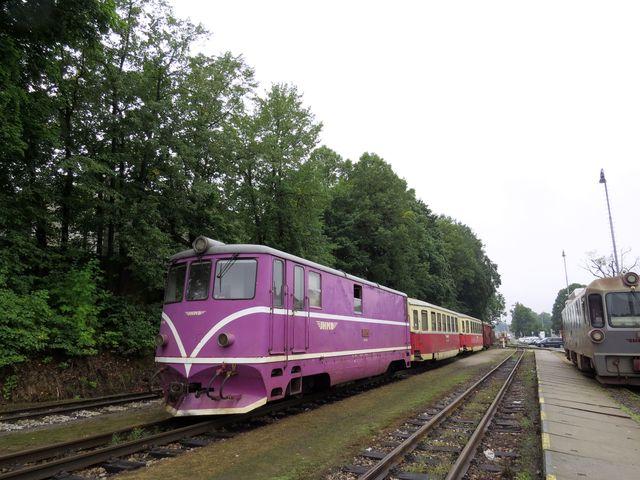 tento motorový vlak jede po úzkorozchodné trati také do Nové Bystřice