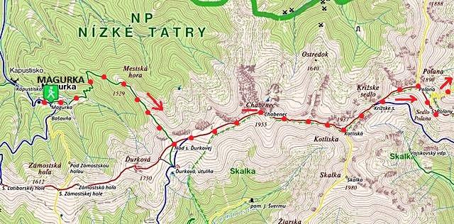 z Magurtky po ZTZ nad Ďurkovou, na Chabenec, Kotliská, do Krížského sedla a na Poľanu 6.7.2017 - 1. část trasy