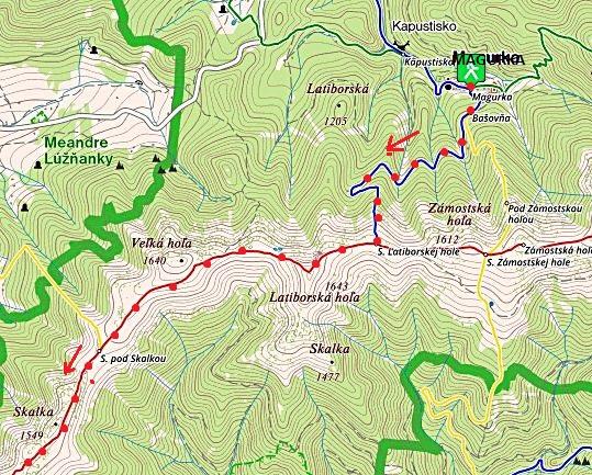 z Magurky po MTZ do sedla Latoborské hole, po hřebeni na Skalku 5.7.2017 - 1. část trasy