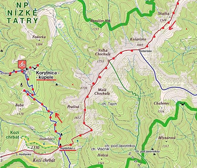 po ČTZ ze Skalky na Košarisko, Veľkou Chochuľu a Prašivou, z ní sestup do Hiadeľského sedla a po MTZ do Korytnice 5.7.2017 - 2. část trasy