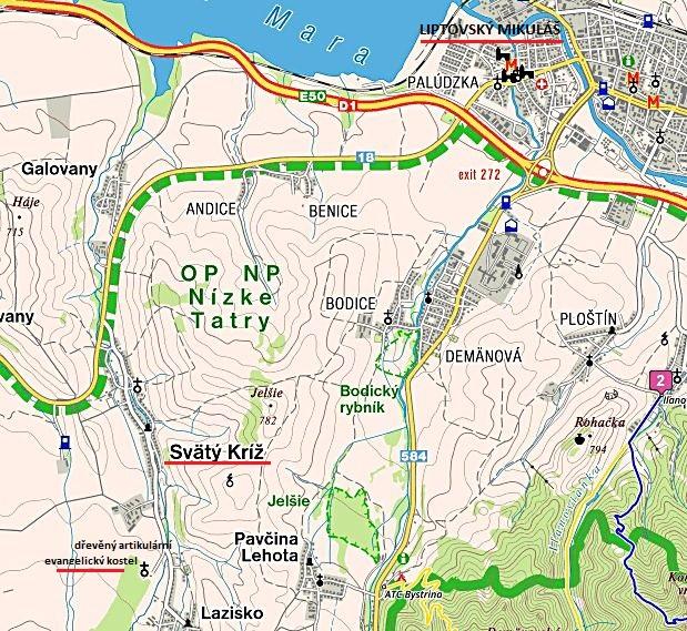 mapka oblasti, kde se nachází vzácný dřevěný kostel 8.7.2017