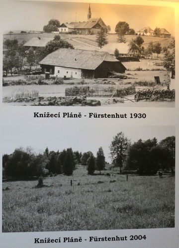obec Knížecí Pláně byla založena v roce 1792 knížetem Schwarzenbergem ve výšce 1 021 m n. m., mívala 60 stavení a asi 700 obyvatel - historické foto a současnost