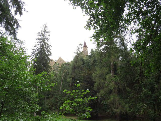 výhled na hrad Velhartice z naučné stezky
