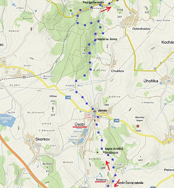 z obce Kosovy ke kapli Andělů strážných, do Úsobí, ke kapli sv. Anny a Pejchalovu mlýnu 29.7.2017 - 1. část trasy